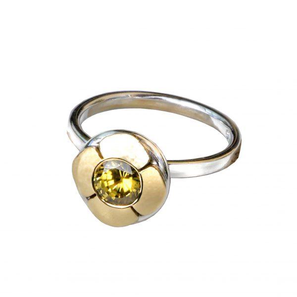 studio dor Ring la fleur de matie maid750 Edelweissgold und Gelbgold